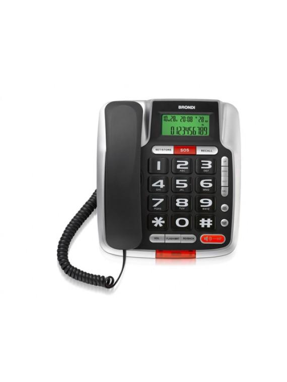 BRONDI BRAVO 105 LCD TELEFONO A FILO SENIOR NERO CON GRANDE DISPLAY E TASTI RETROILLUMINATI, CON VIVAVOCE E TASTO SOS, COMPATIBILE CON APPARECCHI ACUSTICI