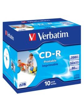VERBATIM CD-R 52X, 700MB, 10 PACK JEWEL CASE, AZO, WIDE INKJET PRINTABLE, 23-118 MM