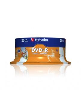 VERBATIM DVD-R 16X, 4,7GB, 25 PACK SPINDLE, WIDE INKJET PRINTABLE, 21-118 MM