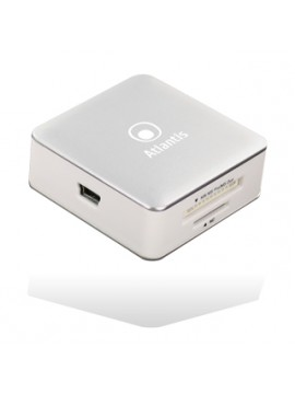 ATLANTIS CARD READER ALL IN ONE ESTERNO ARGO USB2.0 HC/HS T-FLASH/MICRO SD/M2 COLORE BIANCO FINITURE ALLUMINIO