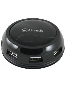 ATLANTIS HUB 7 PORTE USB2.0 NERO LUCIDO CAVO AVVOLGIBILE ALIMENTAZIONE DA RETE